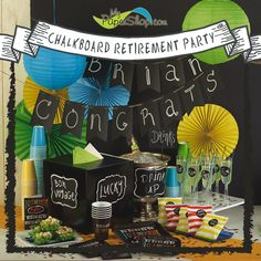 Chalkboard Retirement Party Theme - supplies and decorations