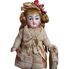 Sweet 4 1/2' All Bisque (swivel neck) Mignonette little lady doll