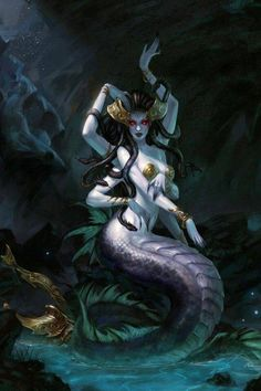 A Naga from World of Warcraft. The naga are the remnants of those Highborne who were trapped in the implosion of the Well of Eternity but who survived by mutating into horrific beasts. They retained their immortality and dwelt beneath the great Maelstrom, though they were reawakened by Illidan Stormrage in the wake of the Third War and are now bent upon reclaiming the land, attacking any night elves they find.