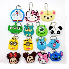 wholesale Cartoon Anime Silicone Cute Hello Kitty&Minion Owl Key Cover Cap Keychain Women Chain Ring Holder TO.US Bear Mickey