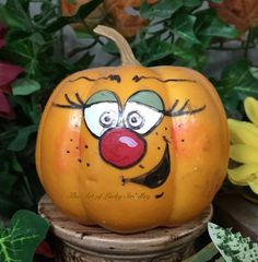 Your place to buy and sell all things handmade PAINTED PUMPKIN Painted and decorated hard by Pumpkin Faces, Cute Pumpkin, Diy Pumpkin, Pumpkin Carving, Pumpkin Ideas, Halloween Pumpkins, Halloween Crafts, Halloween Decorations, Foam Pumpkins