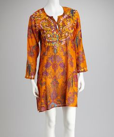 Take a look at this Orange Persia Tunic by Raj Imports on #zulily today!