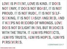 """""""Love is patient, love is kind. It does not envy, it does not boast, it is not proud. It does not dishonor others, it is not self-seeking, it is not easily angered, it keeps no record of wrongs. Love does not delight in evil but rejoices with the truth. It always protects, always trusts, always hopes, always perseveres.""""  - 1 Corinthians 13:4-7"""