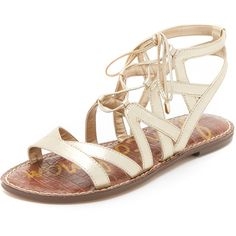 Sam Edelman Gemma Gladiator Sandals ($100) ❤ liked on Polyvore featuring shoes, sandals, light gold, metallic sandals, laced sandals, ankle high gladiator sandals, lace up gladiator sandals and lace-up sandals