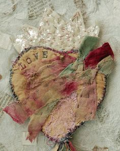 ❥ fabric art heart