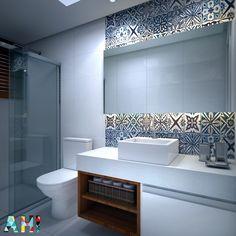 Projeto AH! para um banheiro social discreto e clean! Tons claros com destaque para o revestimento em ladrilho hidráulico destacado com a iluminação indireta e o nicho em madeira  #ahprojetos #ahlaemcasa #banheiro #ladrilhohidráulico #nichoemmadeira #iluminação #nanoglass #cubadeapoio