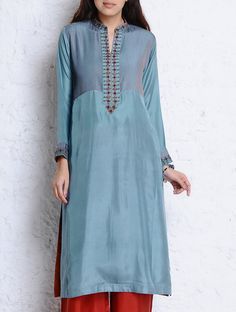 Buy Steel Blue Pintuck & Dabka Embellished Habutai Silk Kurta Apparel Tunics Kurtas Online at Jaypore.com