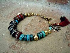 Turquoise / Bohemian Bracelet / Gypsy Bracelet / Ethnic Jewelry / Mala Bead Bracelet / Boho / Tibetan Beads / Tassel Bracelet