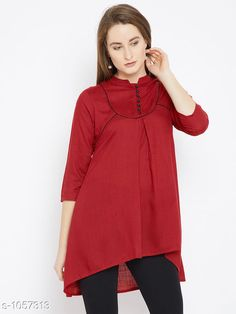 Tops & Tunics Women's Solid Red Rayon Top  *Fabric* Rayon  *Sleeves* Sleeves Are Included  *Size* S - 36 in, M - 38 in, L - 40 in, XL - 42 in, XXL - 44 in  *Length* Up To 36 in  *Type* Stitched  *Description* It Has 1 Piece Of Women's Tunic  *Pattern * Solid  *Sizes Available* S, M, L, XL, XXL *    Catalog Name: Women's Cotton Tops & Tunics CatalogID_128974 C79-SC1020 Code: 024-1057313-