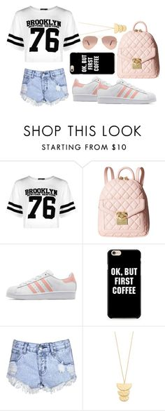 """""""ok, but first coffee"""" by watermelon-cdxii ❤ liked on Polyvore featuring Boohoo, Love Moschino, adidas Originals, Glamorous, Gorjana and Ray-Ban"""