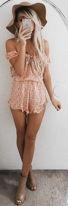 60 Trending And Girly Summer Outfits From Fashionista : Emily Rose Hannon - #summer #girly #outfits | Tangerine Floral Playsuit