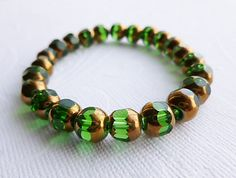 Emerald Green Bracelet with Gold  Christmas Jewelry  Ships by Aqsa, $15.00