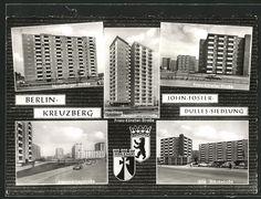 Alte Ansichtskarte: AK Berlin-Kreuzberg, John-Foster-Dulles-Siedlung, Hochhausansichten