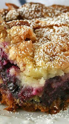 Ooey Gooey Lemon Blueberry Cake ~ full of blueberries with a zesty lemon cream cheese topping
