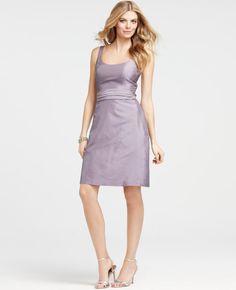 Ann Taylor Silk Dupioni Scoop Neck Dress in viola $150