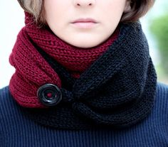Knit Scarf  with button  infinity scarf circle scarf by KnitScarf