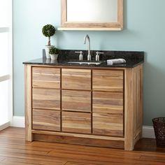 "48"" Venica Teak Vanity for Rectangular Undermount Sink - Whitewash"