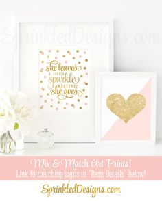 She Leaves A Little Sparkle Wherever She Goes - Blush Pink Gold Glitter Printable Baby Girl Nursery Decor Wall Art Birthday Decorations Sign by SprinkledDesigns.com