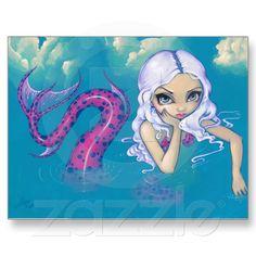 """""""Pink Spotted Mermaid"""" Postcard"""