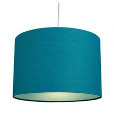 "12"" Cotton Drum Table Lamp Ceiling Light Fitting Pendant Lampshade Teal Blue"