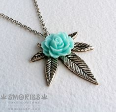 Marijuana+Silver+Rose+Mint+necklace+or+by+SmokiesTokeCouture,+$24.00