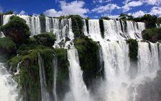Looking down on a walkway at Iguazu Falls, Argentina