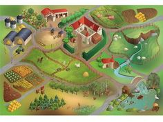 Legetæppe Landbrug Str. 100 x 150 cm. Alder 1+.