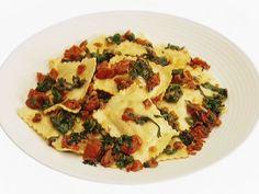 Ravioli with Arugula, Tomatoes and Pancetta recipe from Giada De Laurentiis via Food Network