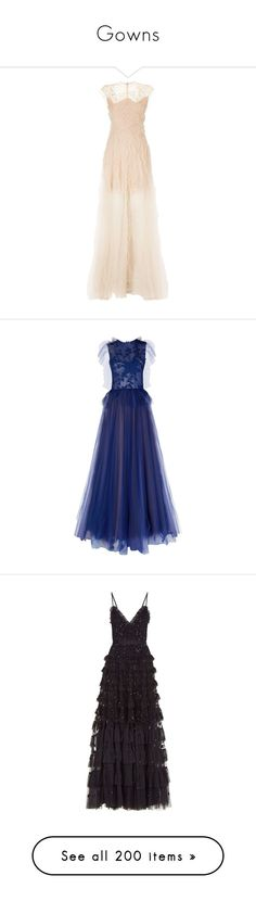 """Gowns"" by madisonbreann ❤ liked on Polyvore featuring dresses, gowns, tulle gown, ruffle gown, embellished gown, pink tulle gowns, circle skirts, blue gown, embroidered gown and blue cocktail dress"
