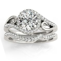 Diamond Swirl Engagement Ring & Band Bridal Set 14k White Gold 0.36ct - Allurez.com