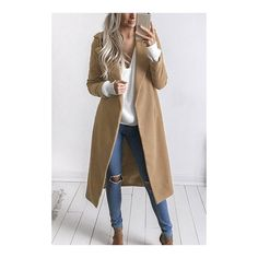 Yoins Fashion Long Sleeves Causal Outerwear in Khaki ($43) ❤ liked on Polyvore featuring outerwear, coats, khaki coat and long sleeve coat