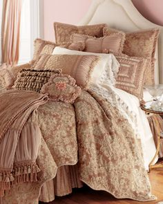 """""""Antique Rose"""" Bed Linens by Sweet Dreams at Horchow."""