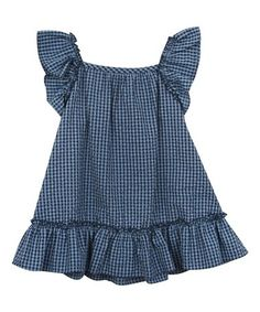 Look what I found on #zulily! Navy Gingham Angel-Sleeve Dress - Infant, Toddler & Girls #zulilyfinds
