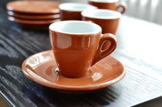 Nuova Point Demitasse Cups & Saucers Set of 4 Porcelain Espresso Turkish Coffee Mirror Brown Redware White Interior Use or Display Beautiful
