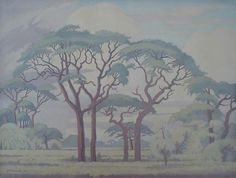 Bushveld, Limpopo - JH Pierneef African Paintings, Tree Art, Acrylics, Mushrooms, Masters, South Africa, Trees, Gardens, Van
