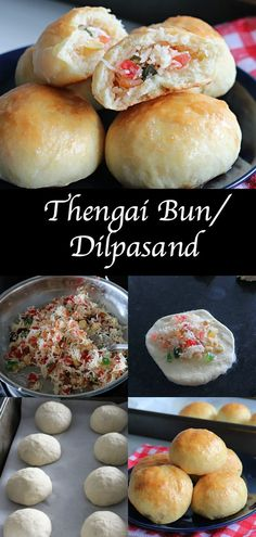 Thengai Bun a soft bun with delicious sweet coconut & tutti frutti stuffing inside.It's one of the famous bun that you can find in almost all bakeries in TamilnaduIndia. Indian Food Recipes, Sweets Recipes, Healthy Recipes, Coconut Buns, Sweet Buns, Bun Recipe, Fusion Food, Food Categories, Tutti Frutti