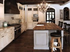 reclaimed Oak beams were used to make this beautiful island top. The patina of each piece was carefully preserved to enhance the natural antique appearance. The top was finished with Hardwax Oil in natural color. Kitchen Countertops, Kitchen Island, Reclaimed Kitchen, Patina Color, Mediterranean Decor, Red Oak, Beautiful Islands, Beautiful Kitchens, Beams