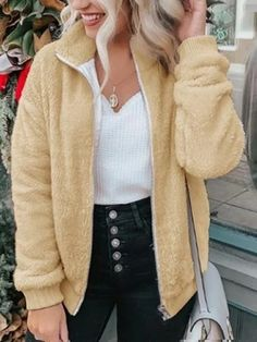 Turn-down Collar Zipper Design Casual Fluffy Coat trendiest dresses for any occasions, including wedding gowns, special event dresses, accessories and women clothing. Coats For Women, Jackets For Women, Clothes For Women, Long Cardigan Coat, Sweater, Fluffy Coat, Warm Coat, High Collar, Fur Jacket