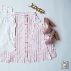 Blush Pink Heels with a Pink Pinstripe Skirt