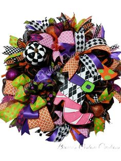 Halloween Deco Mesh Wreath, Halloween Witch Wreath, Witch Boot, Black White…