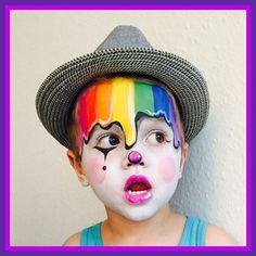 With paint bucket hat (and minus the clown makeup?) With paint bucket hat (and minus the clown makeup? Rainbow Face Paint, Clown Face Paint, Rainbow Painting, Face Painting Designs, Body Painting, Halloween Make Up, Halloween Face, Halloween Party, Halloween Zombie