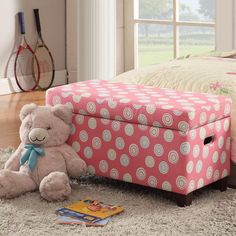 Wow your child or teenager with this adorable storage bench by HomePop. The swirling pattern and popping pink color are sure to spice up your darling's bedroom. The unit's padded, soft exterior exudes