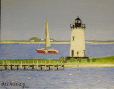 Edgartown Lighthouse - Outbound.11x14 oil on canvas board. #Marthasvineyard #edgartown #lighthouse #art #artist #painting #artistoffmv http://jackmckenzieart.blogspot.com/2016/07/new-painting-edgartown-lighthouse.html