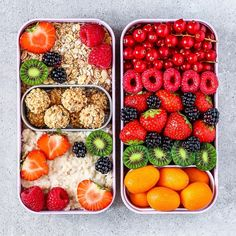rainbow Bento Breakfast Box today loaded with creamy cashew vanilla oats, hazelnut cream balls, muesli, strawberries, raspberries, blackberries, red currants, Kiwi berries and mini orangesBianca | Food Blogger  (@fitness_bianca) • Instagram photos and videos