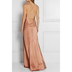 Michelle Mason Silk-satin wrap gown ($1,055) via Polyvore featuring dresses, gowns, rosette dress, tie dress, mason by michelle mason, open back evening dress and wrap style dress