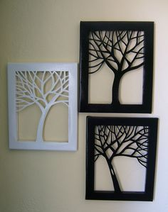 11 x 14 Tree Silhouette Cut Canvas Set of 3 by NineRed on Etsy