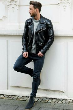 How to wear leather jacket for men. Fashion leather articles at 60 %  wholesale discount prices 369c854933