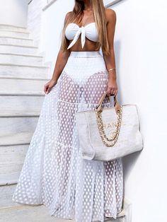 8207fbcda8 White High Waist Polka Dot Print Sheer Mesh Maxi Skirt - Choies.com