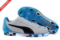 Mens FG White/Black/BLUE PUMA evoSPEED 1.3 XR For Football