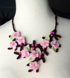 Brilliant crocheted cherry blossom necklace... So gorgeous!